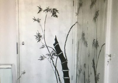 Aluminium leaf and chinese ink on fire door to match wallpaper. Chelsea, London.
