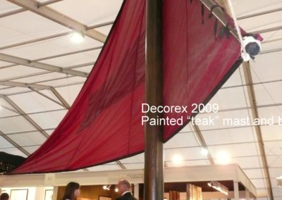 Teak paint effect masts for Ben Whistler Ltd. at Decorex. Actually plastic waste pipes.