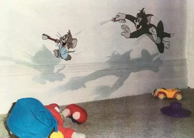 Tom & Jerry exiting bathroom Mural