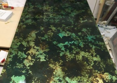 Oxidised & lacquered metal leaf table top