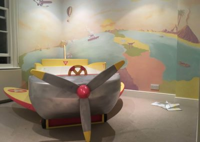 Aeroplane bed, to tie in with _Around the World_ mural.