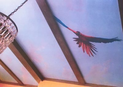 Amazon parrot flying in. Dining Room, Clapham.