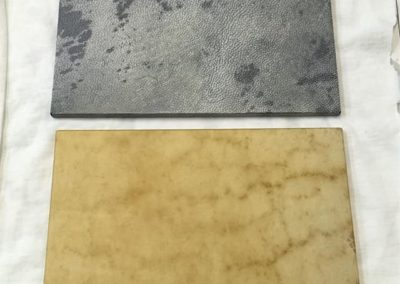 Anthracite stained Vellum & Unbleached Vellum.