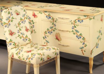 Butterfly cabinet painted to match silk.
