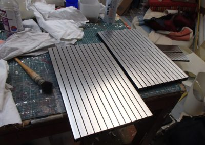 "Silver leaf ""striped"" doors."