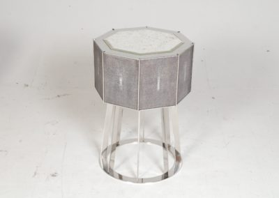 Drum side table; Shagreen, polished nickel, antique glass. lagos
