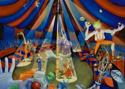 """Fools' Circus""; Oil on canvas 3'x4'"