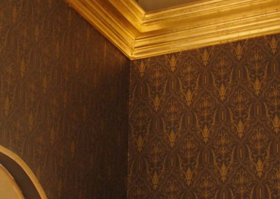 """Bronze"" stippled ceiling with oil gilded cornice."