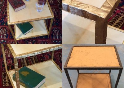Gilded steel and Vellum side table