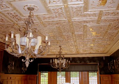 Antiqued gold and silver leafed ceiling
