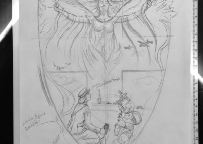 Initial composition sketch for RAF Memorial Plaque, Suffolk; Commission pending...