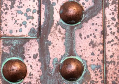 Oxidized riveted copper paint sample
