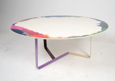 Powder coated frame and hand-painted table top. lagos
