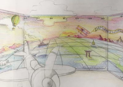 Preliminary sketches for an _Around the World_ mural, Notting Hill.