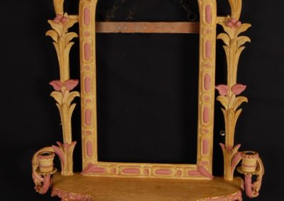 Restored gilt mirror, new gesso and bole prio to gilding.