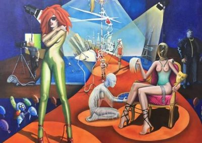 """Runway Slaves_""Oil on canvas, 3'x3'; commissioned painting."