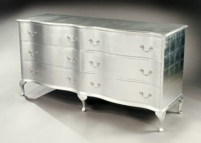 Silver leafed bespoke chest.
