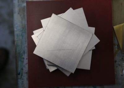 Silver leaf samples for showroom.