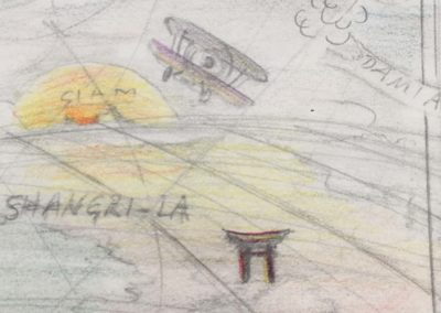 """Preliminary sketch for """"Around the World"""" mural."""