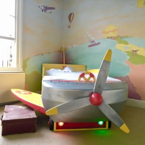 Around the Word hand-painted mural and bed London. london murals bedroom mural kids murals