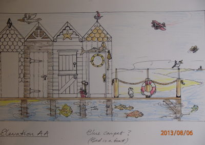 Sketch for mural beach huts