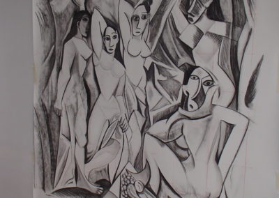 """Finished """"sketch"""", Charcoal, 5'x5'."""