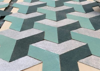 Silver leaf on shagreen veneer patterns