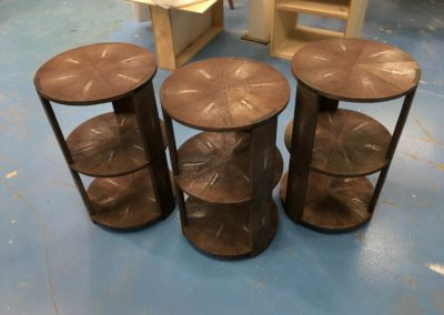 tiered chocolate shagreen side tables