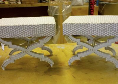 2 painted and distressed stools for Nicky Haslam.
